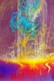 Le feu avec de la fumée cyan et jaune illustration de vecteur