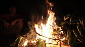 Le feu brûlant devant des amis d'og de groupe ayant l'amusement près du feu de camp clips vidéos