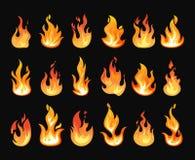 Le feu brûlant ou flammes réalistes Photo libre de droits