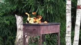 Le feu brûle dans le gril rouillé de fer banque de vidéos
