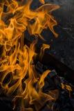 Le feu br?lant en gros plan dans le gril photographie stock libre de droits