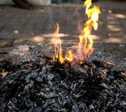 Le feu brûle Photos stock