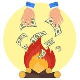 Le feu d'argent de main illustration stock