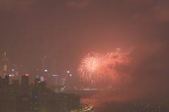 le feu d'artifice du 20ème anniversaire HK Photo stock