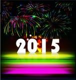 Le feu d'artifice et l'année 2015 ont fait de l'effet au néon coloré Photos stock