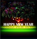 Le feu d'artifice et l'année 2015 ont fait de l'effet au néon coloré illustration stock
