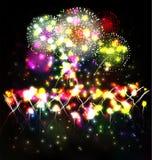 Le feu d'artifice et l'année 2015 ont fait de l'effet au néon coloré illustration libre de droits