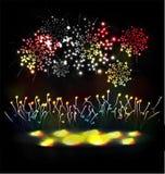 Le feu d'artifice et l'année 2015 ont fait de l'effet au néon coloré Image stock