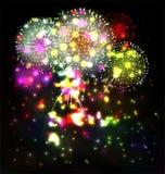 Le feu d'artifice et l'année 2015 ont fait de l'effet au néon coloré Photo stock