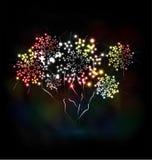 Le feu d'artifice et l'année 2015 ont fait de l'effet au néon coloré illustration de vecteur