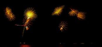 Le feu d'artifice, exposition, célèbrent, roi, anniversaire Image libre de droits