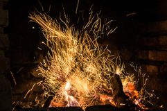 Le feu dans le four Photo libre de droits