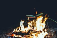 Le feu dans la forêt avec le feu Avec griller Des voyageurs photos stock