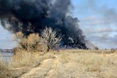 Le feu dans la steppe d'automne photographie stock libre de droits