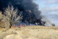 Le feu dans la steppe d'automne image libre de droits