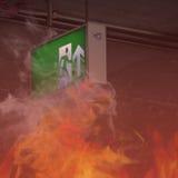Le feu dans le bâtiment - sortie de secours Photo libre de droits