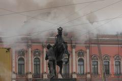 Le feu dans le palais Photos stock