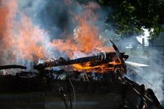 Le feu de bâtiment Images libres de droits