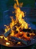 Le feu de camp avec les flammes de flambage image stock