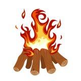 Le feu de camp brûlant brillamment l'illustration Images libres de droits