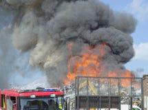 Le feu de chantier de ferraille Photo libre de droits