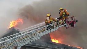 Le feu de flambage de maison de bataille de sapeurs-pompiers banque de vidéos