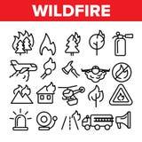 Le feu de forêt, ligne mince ensemble de vecteur du feu de brousse d'icônes illustration stock