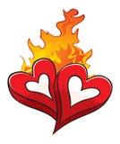 Le feu de l'amour au-dessus des coeurs aimés chauds d'isolement sur le blanc Images stock