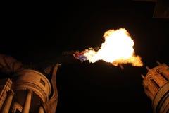 Le feu de respiration de dragon la nuit photographie stock libre de droits