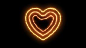 Le feu de trois coeurs dans le format de png avec l'alpha canal de transparent banque de vidéos