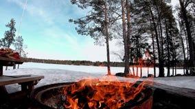 Le feu du bois sec pour le barbecue dans une terre de neige couverte d'arbres et de lac congelé derrière de beau paysage banque de vidéos