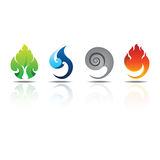 Le feu eau-air de la terre d'éléments d'icônes Photos stock