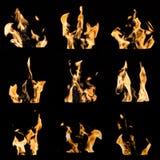 Le feu flambe le collage Photo stock