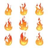 Le feu flamboyant ou icônes d'isolement de flamme, lumière Photographie stock