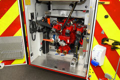 Le feu offre le système de pompage de tuyau Photos libres de droits