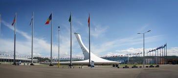 Le feu olympique XXII aux Jeux Olympiques d'hiver Photos libres de droits