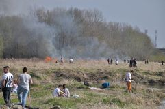 Le feu par la Vistule Image stock