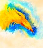 Le feu Phoenix et fond doucement brouillé d'aquarelle illustration stock