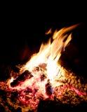 Le feu réchauffe le terrain de camping Photographie stock