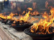 Le feu saint Katmandou Népal photos stock
