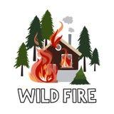 Le feu sauvage dans une maison brûlante de forêt illustration de vecteur