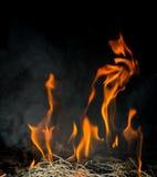 Le feu sur le four Photographie stock libre de droits