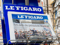 Le Figaro reporting handover ceremony presidential inauguration. PARIS, FRANCE - MAY 15, 2017: Le Figaro French newspaper reporting handover ceremony Royalty Free Stock Image