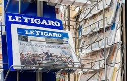Le Figaro som anmäler presidents- invigning för överlåtelseceremoni Royaltyfri Fotografi