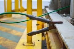 Le fil de masse, unité a fixé relié pour l'electrici de charge statique de protection Photographie stock libre de droits