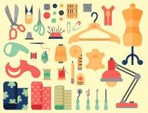Le fil fournit des accessoires cousant l'équipement travaillant l'illustration de vecteur de couture de métier de goupille de mod Images stock