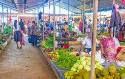 Le file delle stalle nel mercato di Wellawaya Immagine Stock Libera da Diritti
