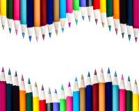 Le file doppie di colore disegnano a matita il fondo Immagine Stock Libera da Diritti