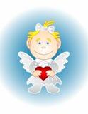 Le fille-ange avec le coeur Photographie stock libre de droits