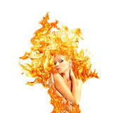le Fille-feu, faisant de la publicité Image libre de droits